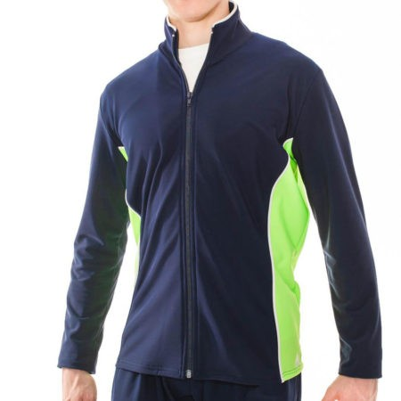 TS12B Navy Flo Green Mens Gymnastics Tracksuit Jacket