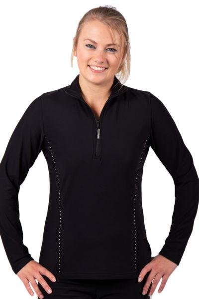 TS12H Black half zip ladies tracksuit jacket front