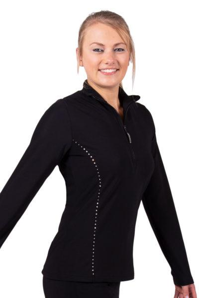 TS12H Black half zip ladies tracksuit jacket side