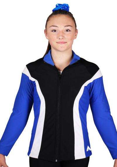 TS17 Black Royal and White ladies tracksuit jacket front