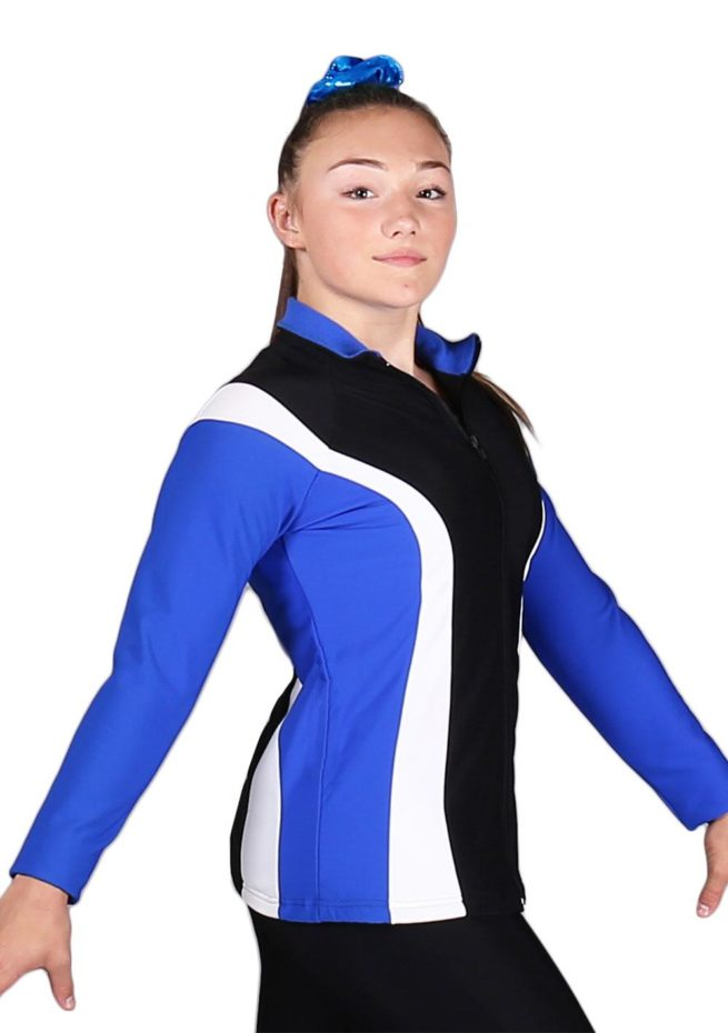 TS17 Black Royal and White ladies tracksuit jacket side