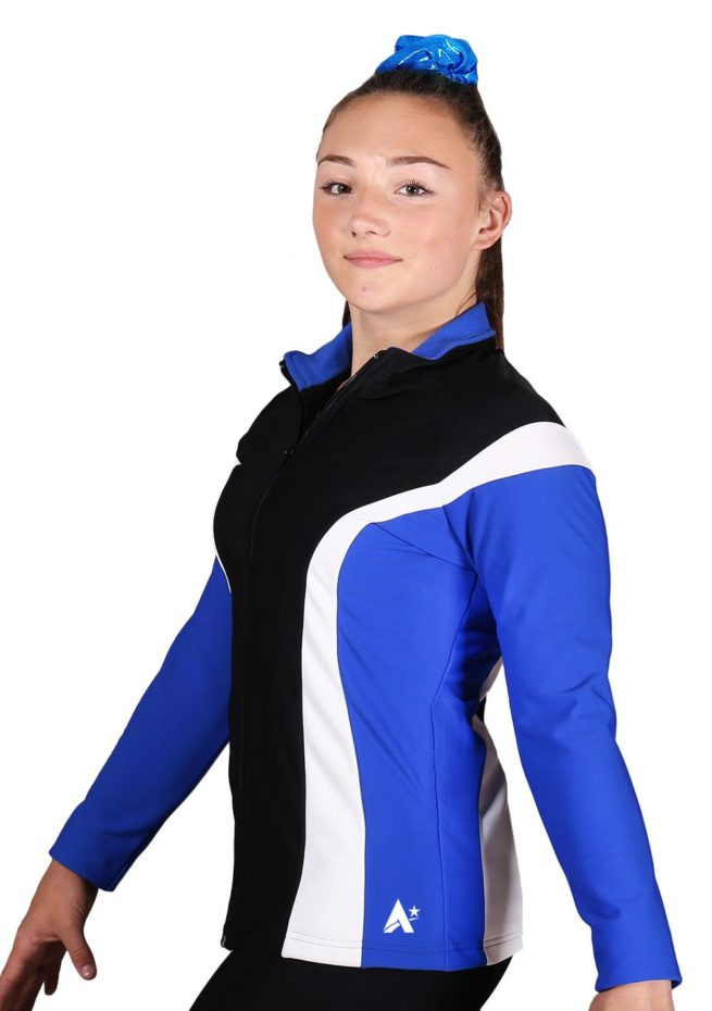 TS17 Black Royal and White ladies tracksuit jacket side1