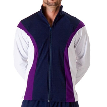 TS17B Navy purple and White mens tracksuit jacket for gymnastics