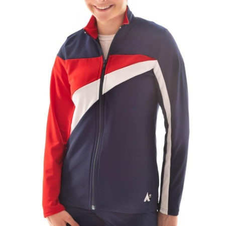 TS20 Ladies Girls Red White and Navy tracksuit jacket