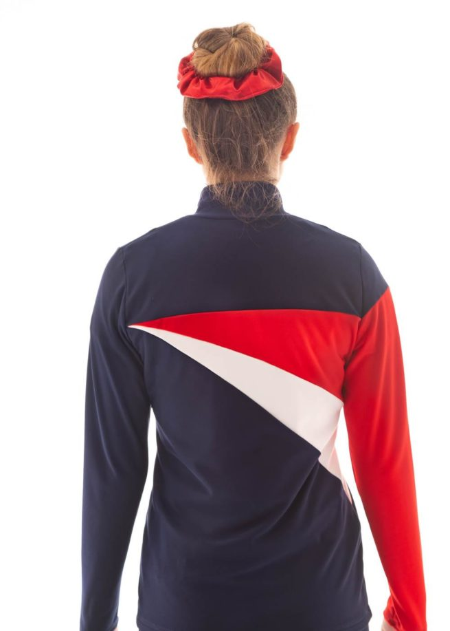 TS20 Ladies Girls Red White and Navy tracksuit jacket back