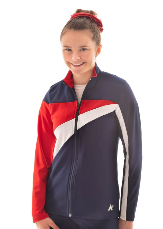 TS20 Ladies Girls Red White and Navy tracksuit jacket front 1
