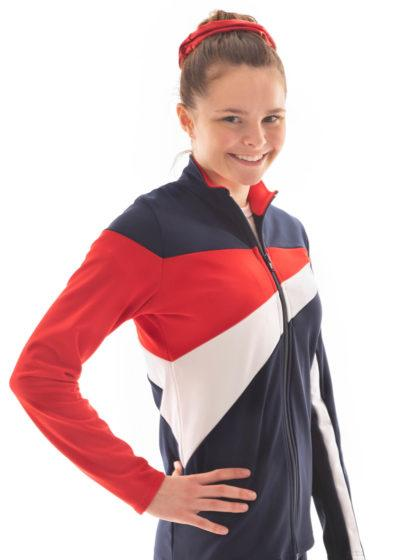 TS20 Ladies Girls Red White and Navy tracksuit jacket side
