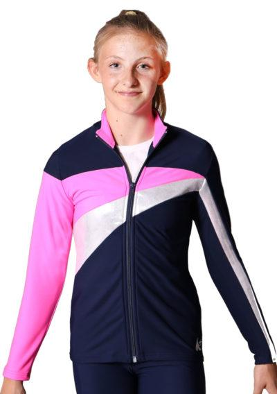 TS20 Navy Silver and Pink ladies tracksuit jacket