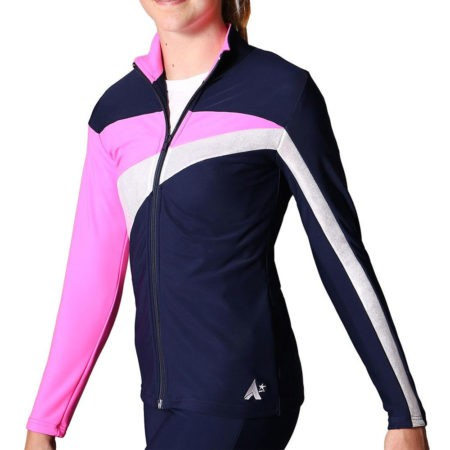TS20 Navy Silver and Pink ladies tracksuit jacket gymnastics top