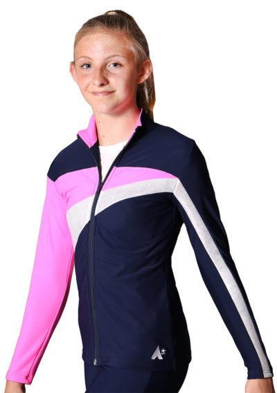 TS20 Navy Silver and Pink ladies tracksuit jacket side