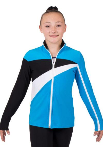 TS20 Turquoise Blue tracksuit jacket with White and Black Detail front