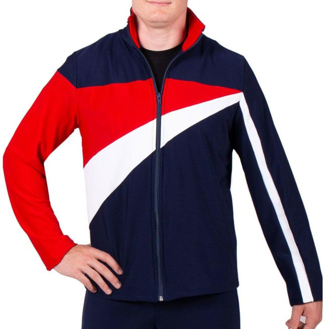 TS20B Navy Red and White mens striking Tracksuit jacket sports top