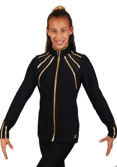 TS40 Black and Gold tracksuit jacket front