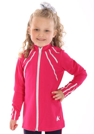 TS40 Pink tracksuit jacket with silver lines front