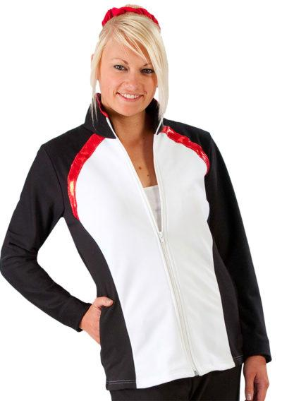 TS44 White tracksuit with Black side panels and Red detail main