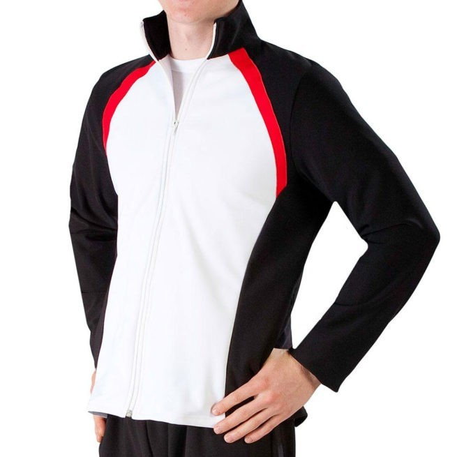 TS44B Male white tracksuit with Black Sides and Red details ffor gymnastics