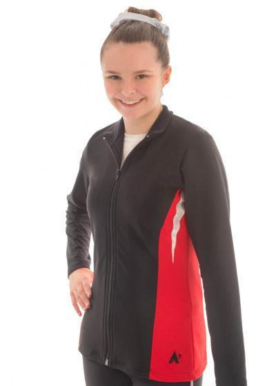 TS45 Black and Red tracksuit jacket with silver detail front
