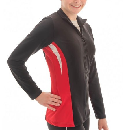 TS45 Black and Red tracksuit jacket with silver detail gymnastics