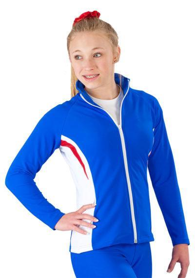 TS45 Royal Blue female tracksuit with Red details Front