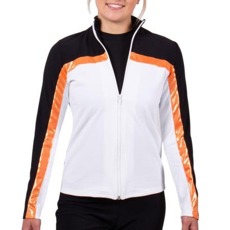 TS52 BLACK WHITE AND ORANGE LADIES TRACKSUIT JACKET FRONT gymnastics top