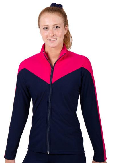 TS55 Navy and Pink female tracksuit jacket
