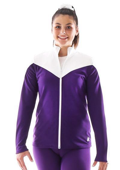 TS55 Purple and white tracksuit jacket front