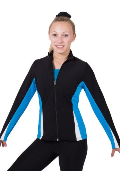 TS57 Black white and Turqiouse girls ladies tracksuit front