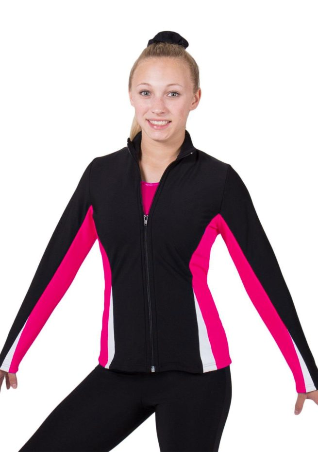TS57 Black white and pink girls ladies tracksuit