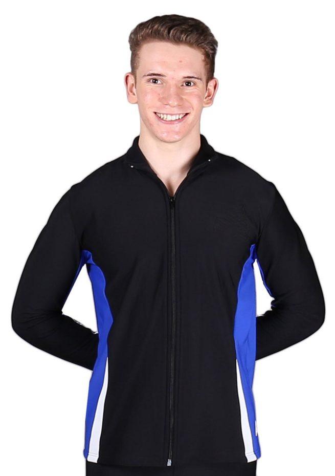 TS57B Black White and Royal mens tracksuit jacket front 1