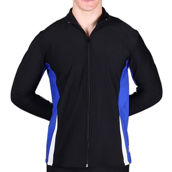 TS57B Black White and Royal mens tracksuit jacket sports jacket
