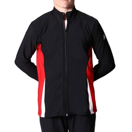 TS57B Black red and white boys tracksuit jacket for gymnastics