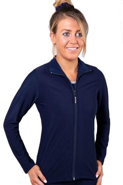 TS6 Navy fitted ladies tracksuit jacket front