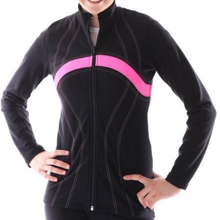 TS60 black and pink ladies tracksuit jacket for gymnastics
