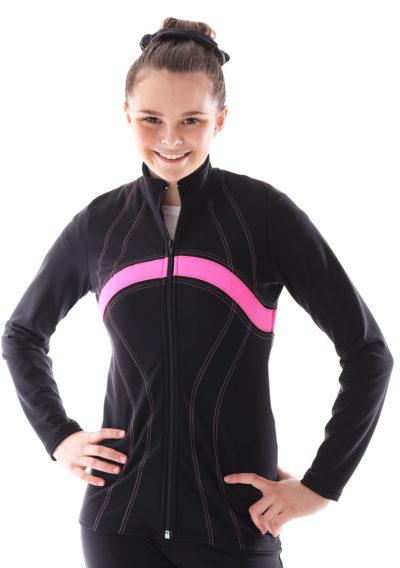 TS60 black and pink ladies tracksuit jacket for gymnastics front
