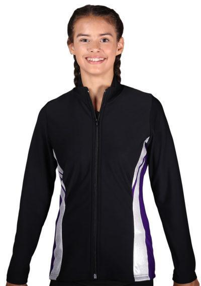 TS64 Black Purple and silver girls tracksuit jacket front