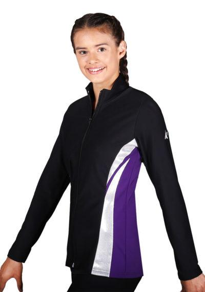 TS64 Black Purple and silver girls tracksuit jacket side