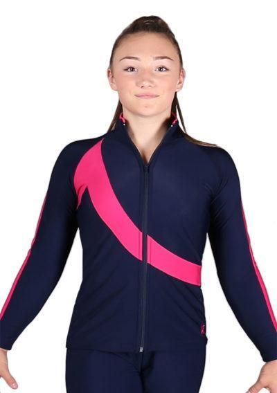 TS65 Navy and pink gymnastics tracksuit front