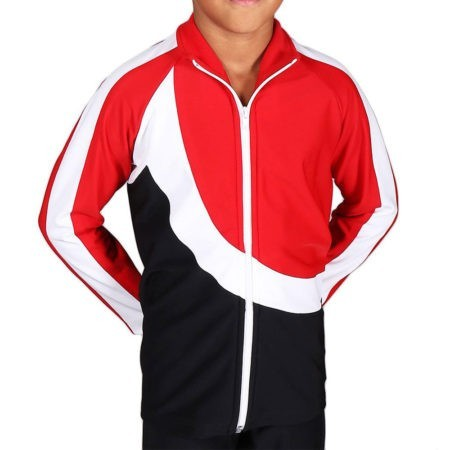 TS65B Boys Black White and Red tracksuit sports jacket