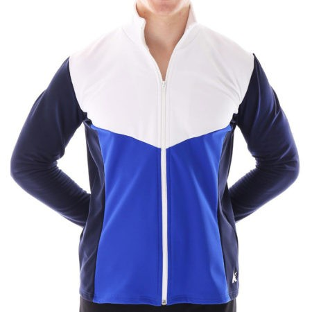 TS66B Navy royal and White Tracksuit jacket with bold V design for sport