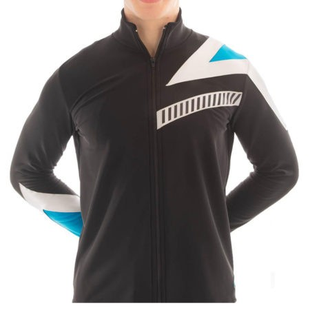 TS67B Black turquoise printed male tracksuit jacket