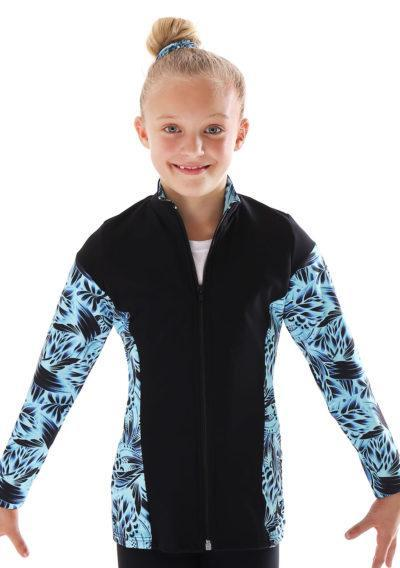 TS69 black and blue patterned tracksuit jacket for gymnastics main