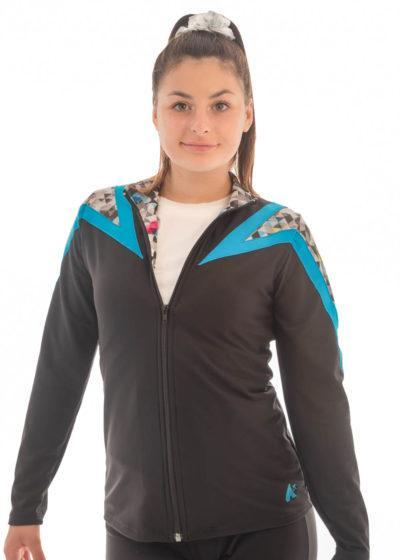 TS71 Black tracksuit jacket with Patterned details front