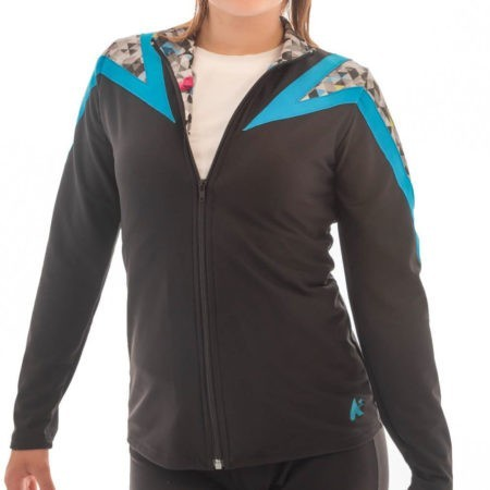 TS71 Black tracksuit jacket with Patterned details sports jacket