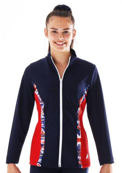 TS72 Red and navy tracksuit jacket with union jack print front