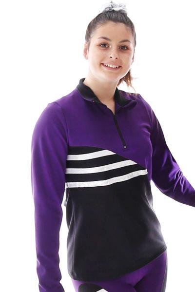 TS73H Black purple half zip jacket main