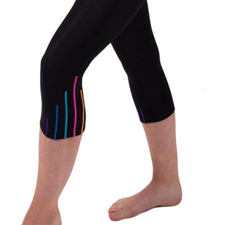 TSLG Black leggings with shimmer stripes detail