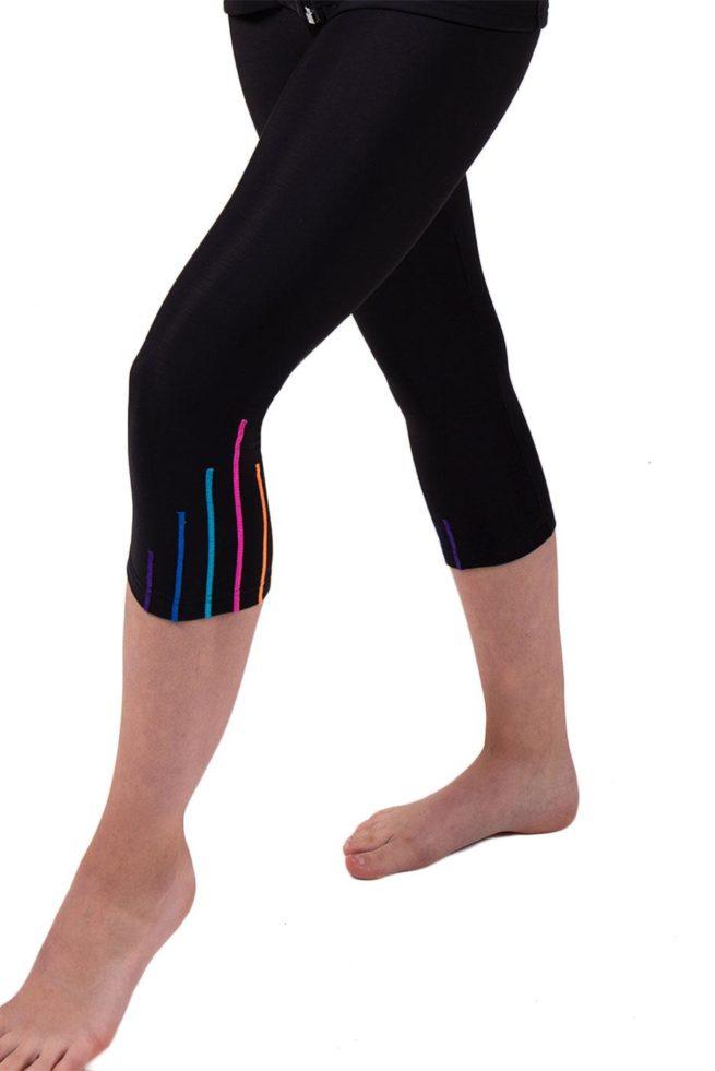 TSLG Black leggings with shimmer stripes detail