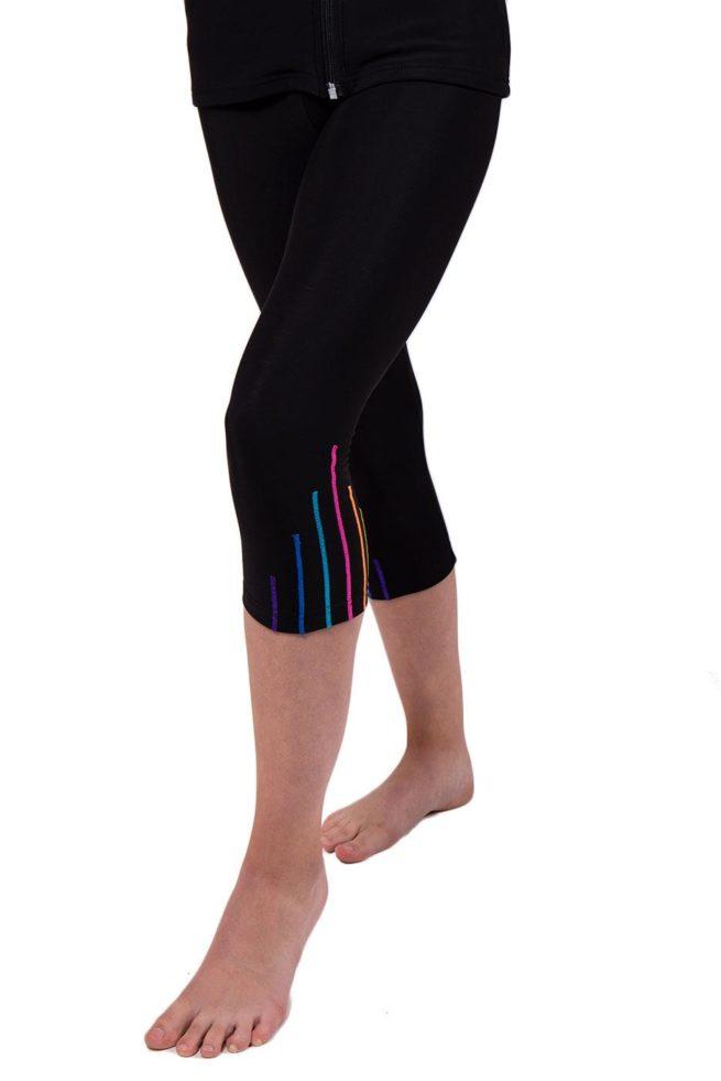 TSLG Black leggings with shimmer stripes front