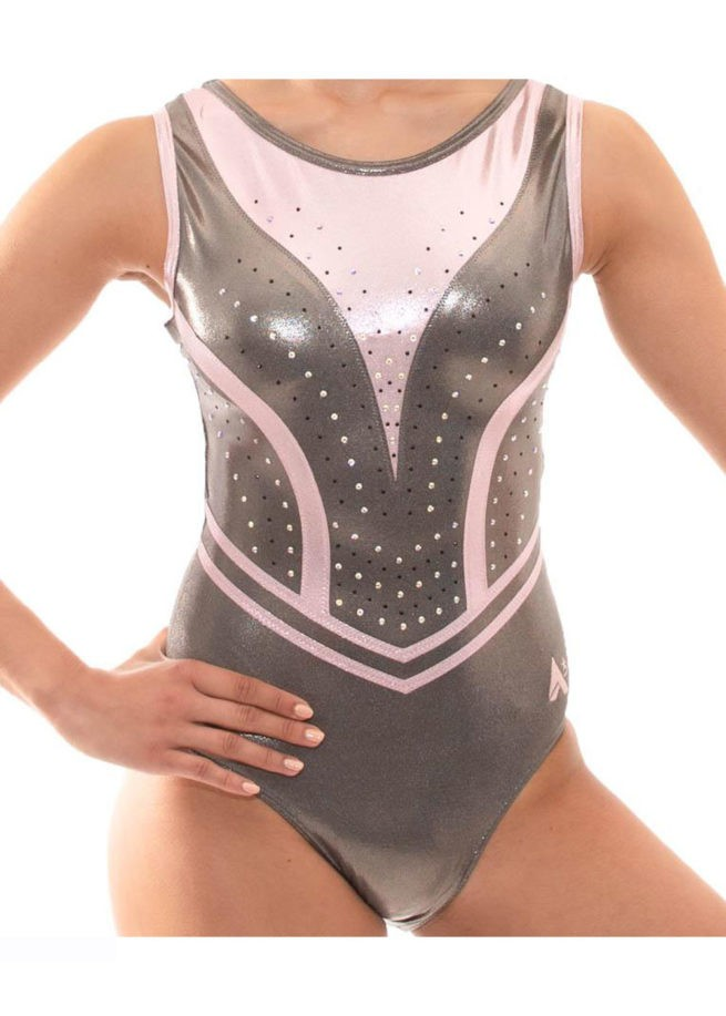 Z519 Candra Pink and Grey Sleeveless Leotard