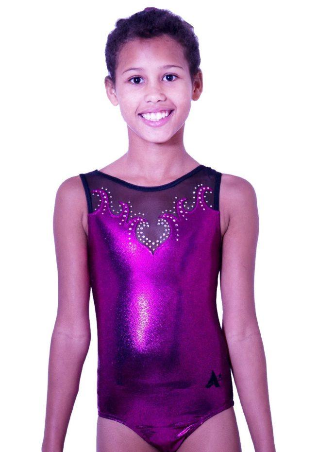 Z92S35 P01D black mesh and pink shimmer girls sleeveless leotard